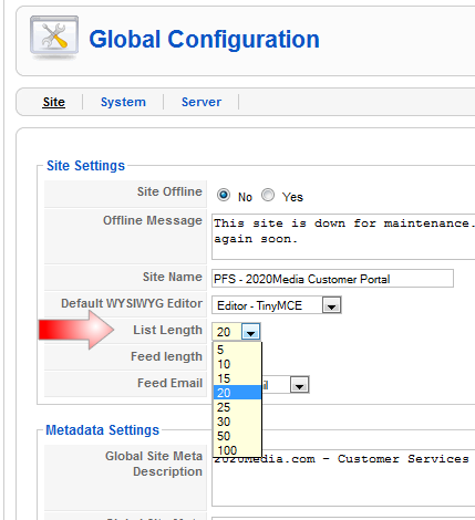 Joomla setting for admin lines per page