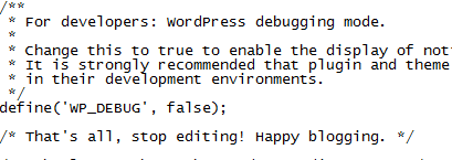 the wp-config.php file