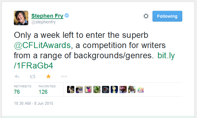 Stephen Fry's tweet about CF Literary awards