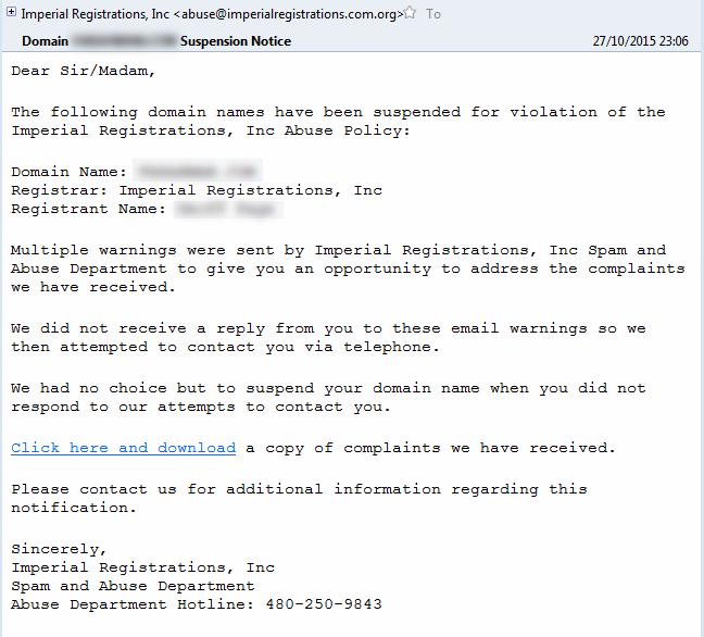fraudulent suspension notice web