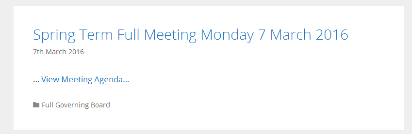 Homepage showing list of meetings
