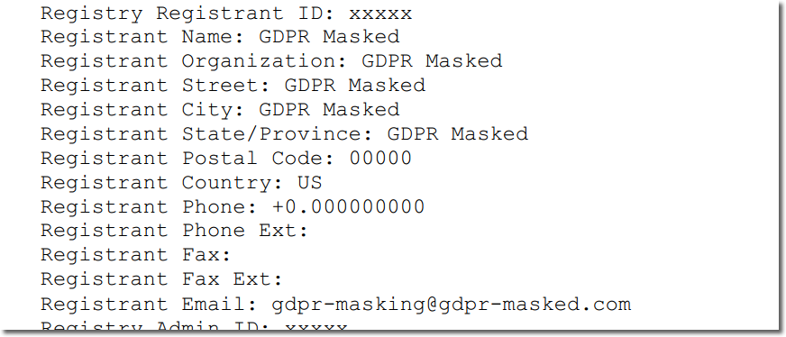gTLD masked WHOIS example